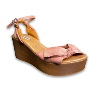 Steve Madden Nude Pink Bow Tie Toe Strapped Heeled Trendy Wedge Wedges 40